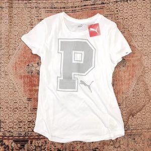 Puma Tops - Runs small! NWT Puma Logo white tee